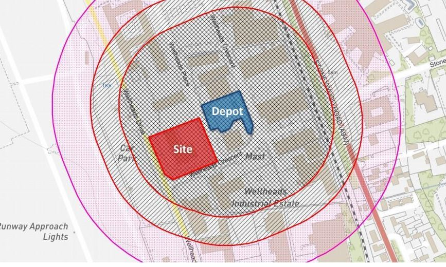 The hazard zones indicated in council planning papers for TAC Healthcare's Dyce clinic application.