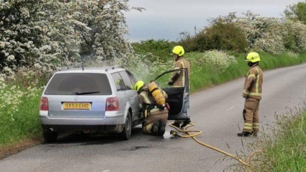 car burst into flames Fife