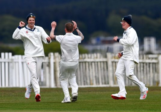 Stoneywood Dyce celebrate during their first game of the season against Meigle.