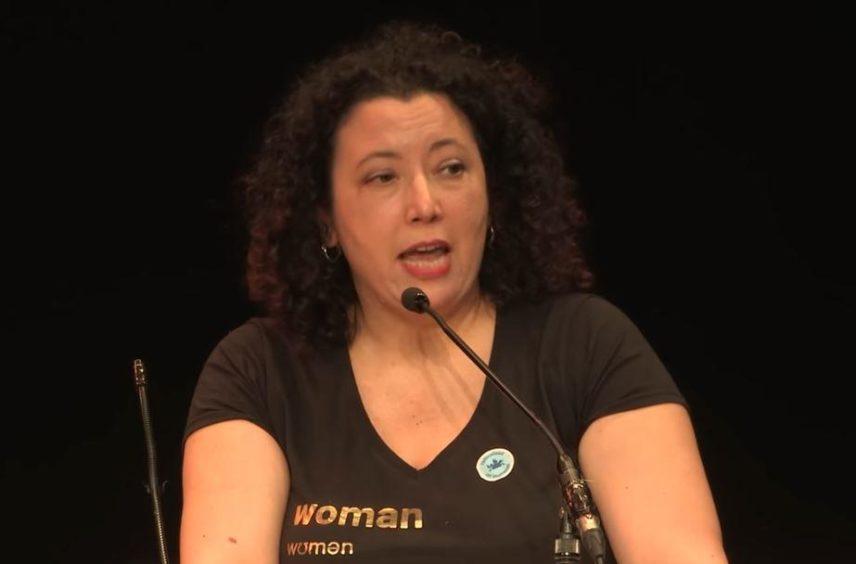 Maya Forstater speaking at a debate
