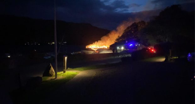 The Crannog Centre after fire took hold