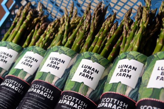 Packets of Lunan Bay Farm asparagus ready to be sold