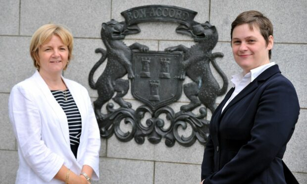 Council leader Jenny Laing and chief executive Angela Scott outside HQ.