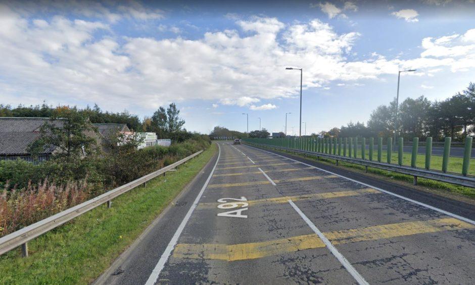 slammed lorry Fife Roundabout