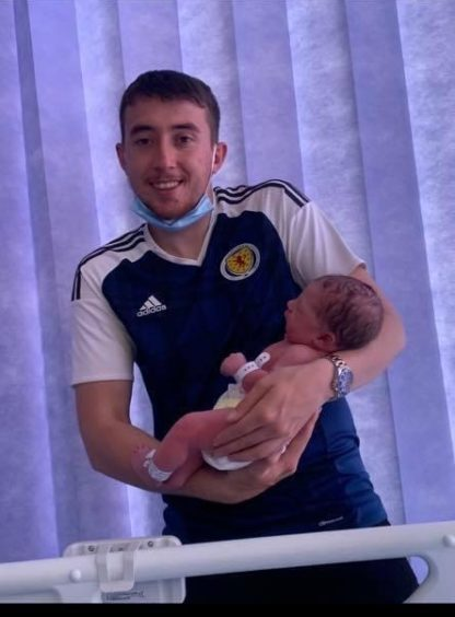 Proud father Steven with Liam in Ninewells Hospital.