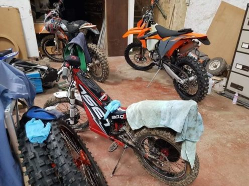 Some of the motocross bikes that were stolen from Alyth