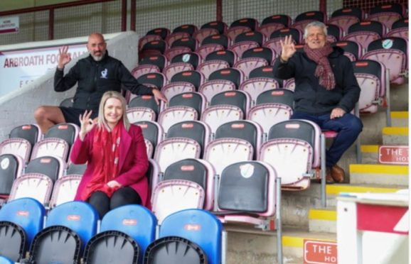 Alex Mcclintock of Andy's Man Club, Shelley Hague of the community trust and Mike Caird, chairman of Arbroath FC.