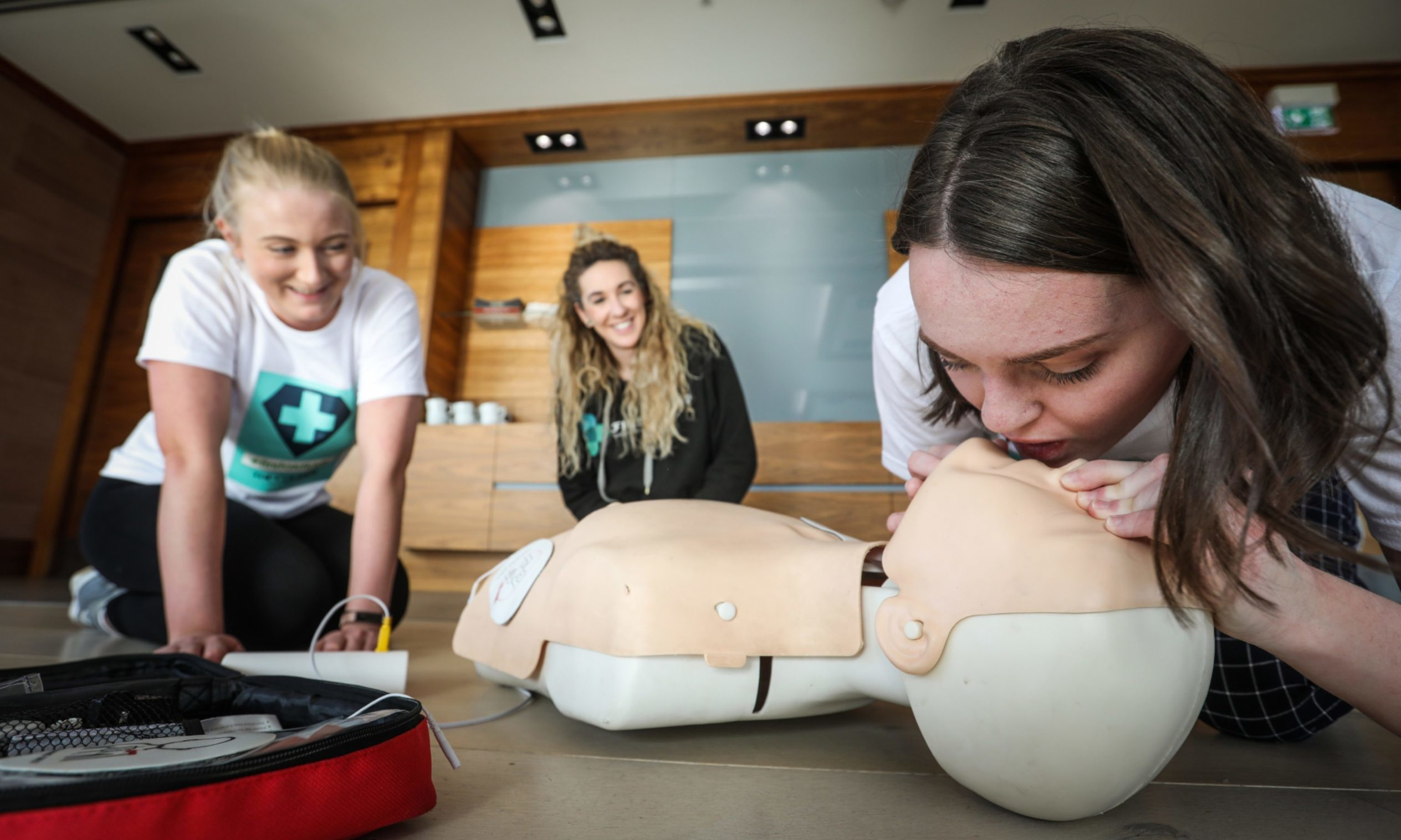 A CPR training course, teaching people what to do if someone is in cardiac arrest, takes place in 2020.