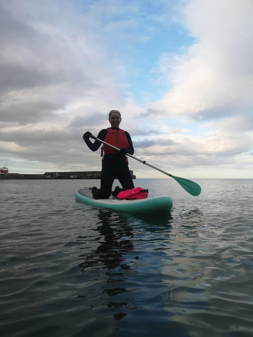 Rachel tried stand-up paddleboarding for the first time over Easter.