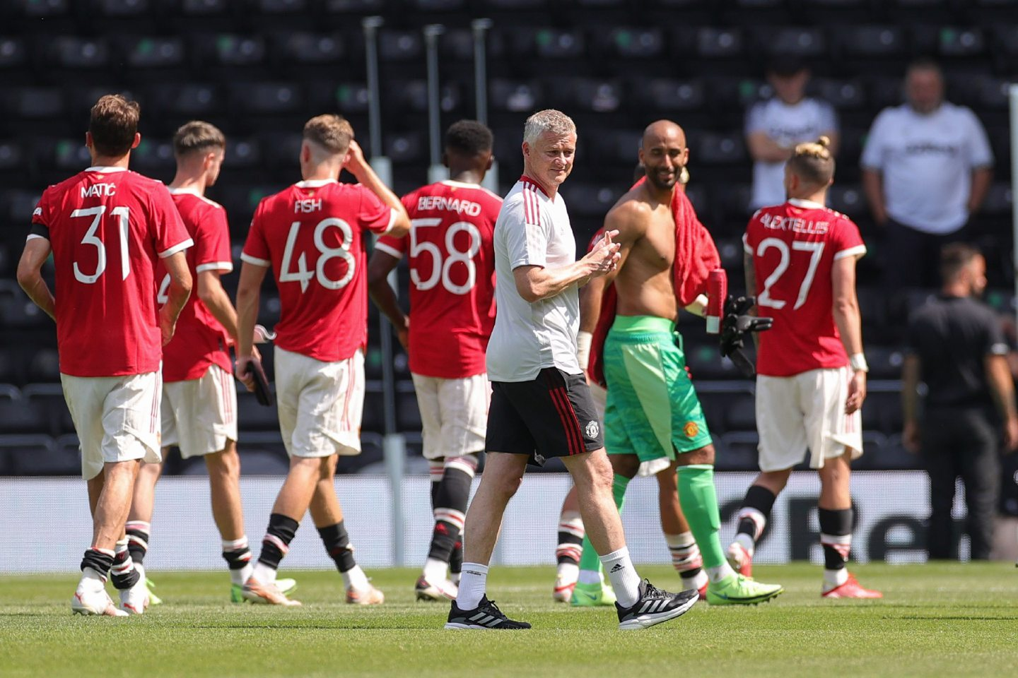Ole Gunnar Solskjaer and his players after friendly match against Derby at the weekend.