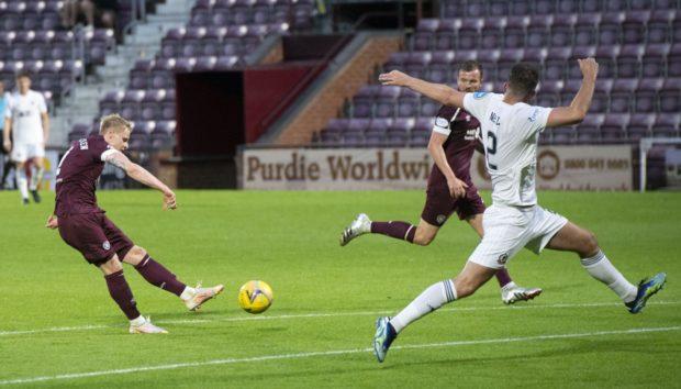 Gary Mackay-Steven puts Hearts 3-0 up against Cove Rangers.