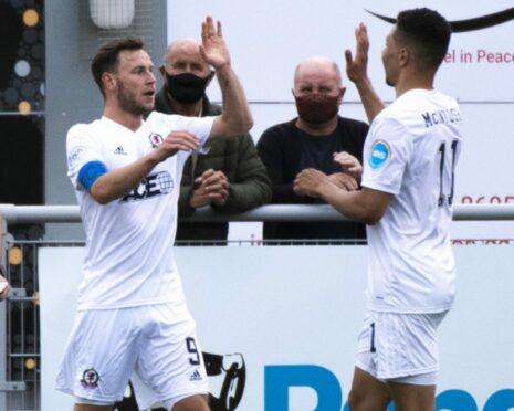 Cove Rangers pair Mitch Megginson and Leighton McIntosh celebrate against Inverness.