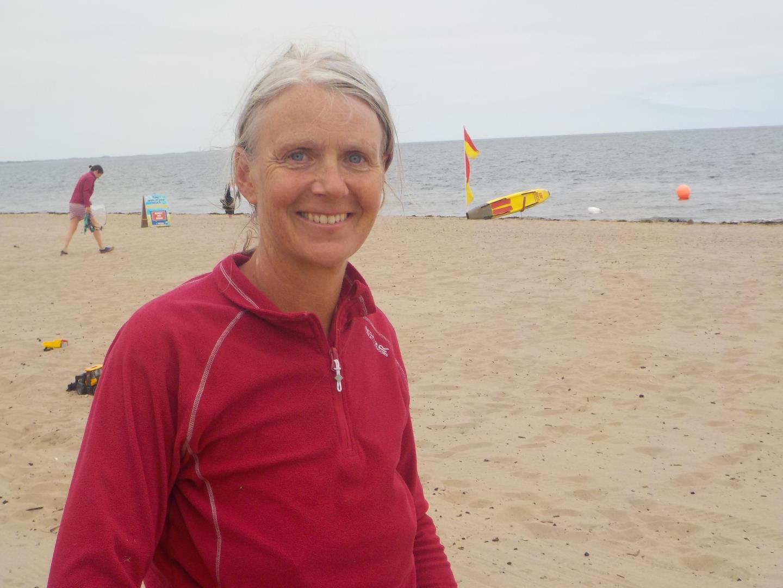 Barbara Sweeney on the beach