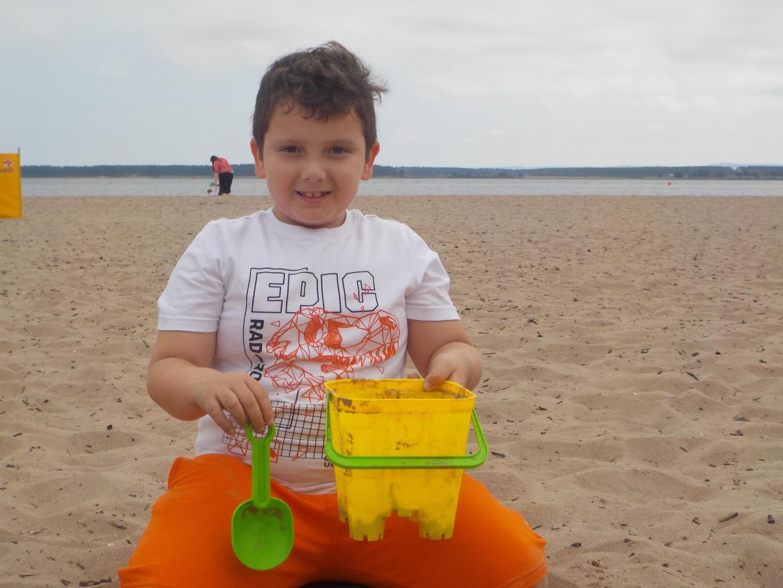 Emir Duncan building a sandcastle on Broughty Ferry Beach
