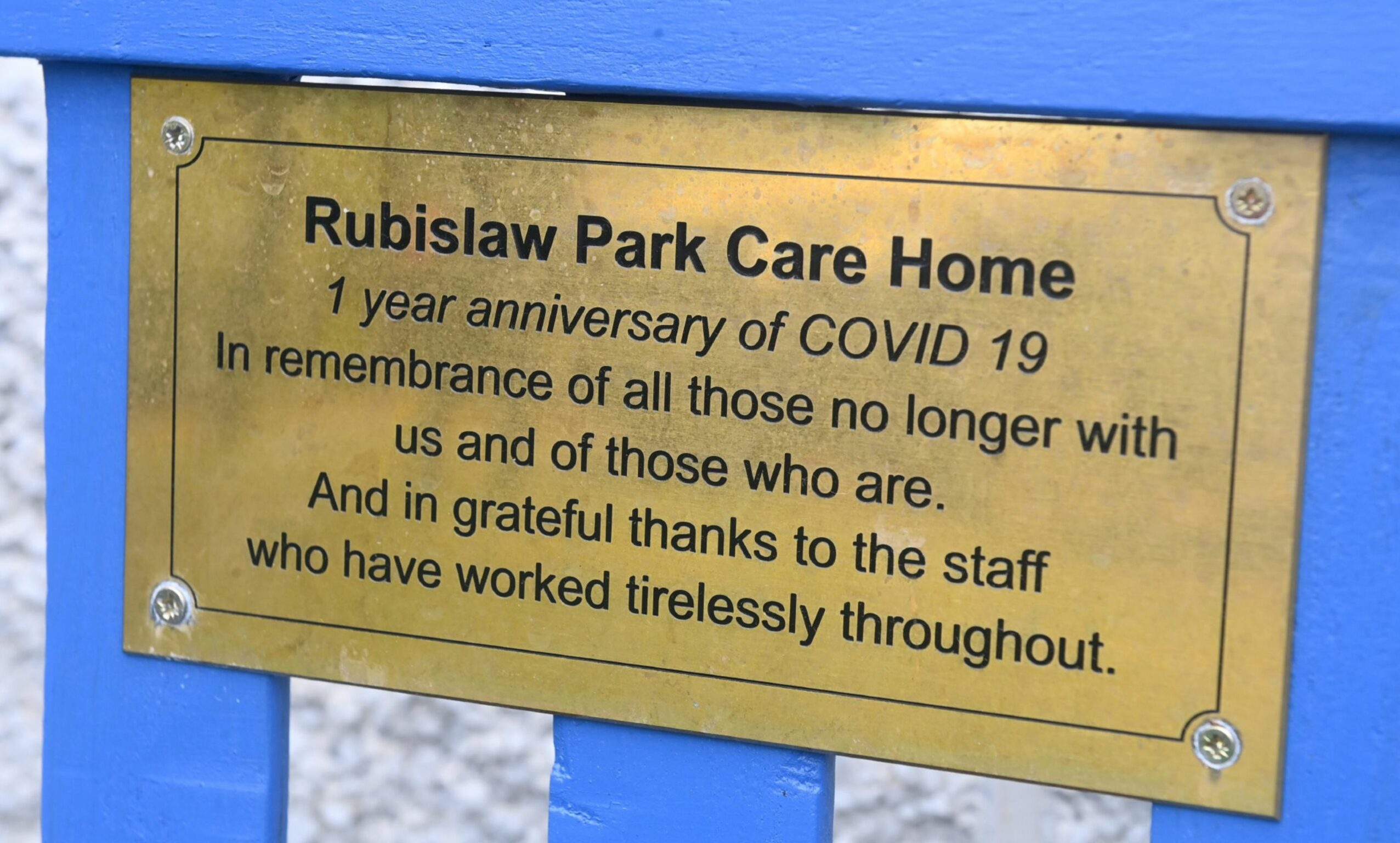 The plaque on the Rubislaw Park memorial bench.