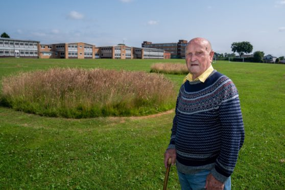 Mr Reeves, 90, on the grounds behind Blairgowrie High School where the new recreation centre is planned to be built.