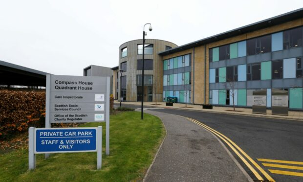 An outside view of the Care Inspectorate headquarters at Compass House on Riverside Drive in Dundee.