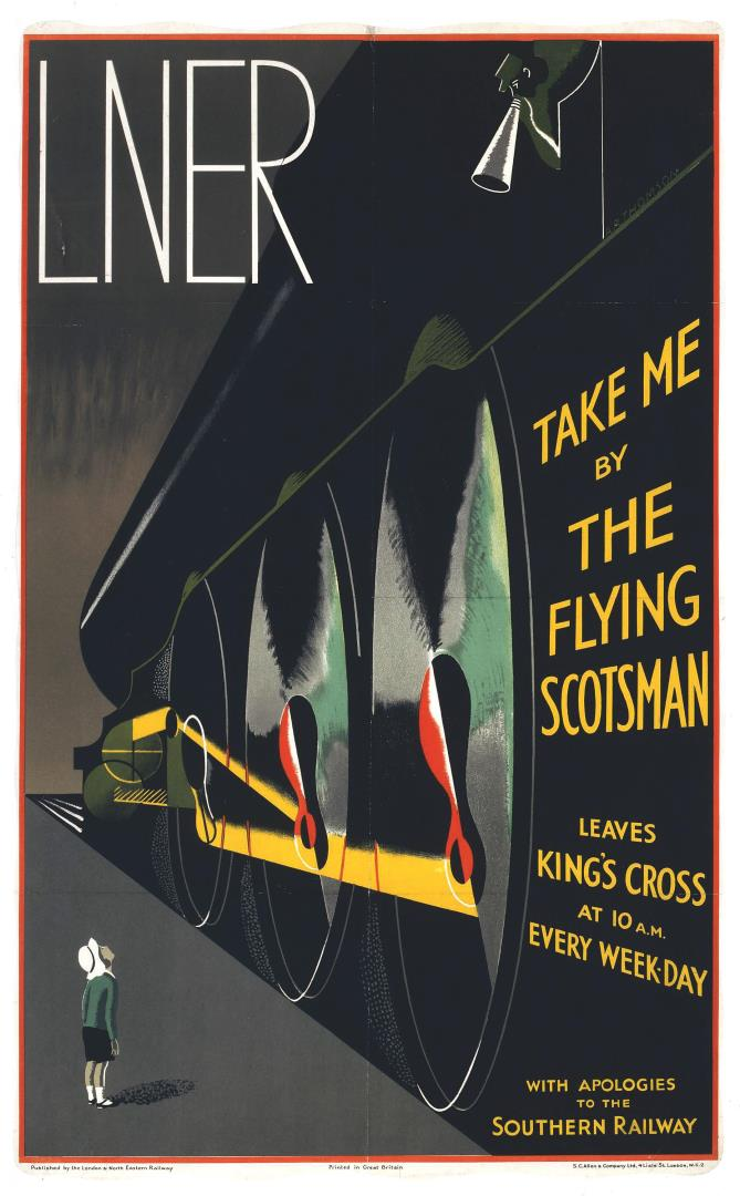 An iconic art deco poster for the Flying Scotsman steam train.