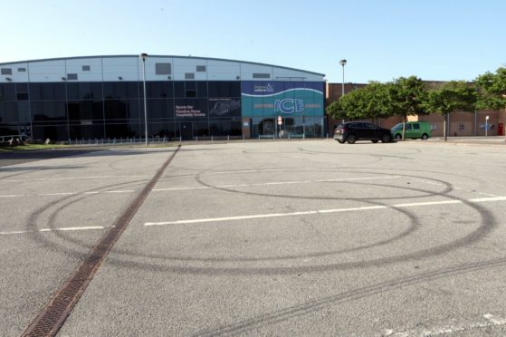 Tyre marks left at the Cineworld car park in Dundee