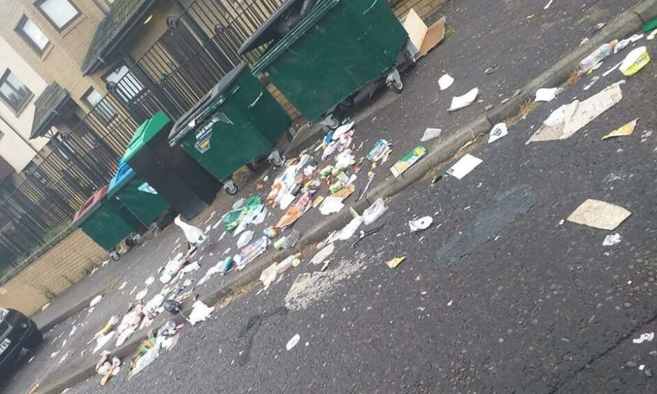 Rubbish in the streets of Fintry earlier this week.