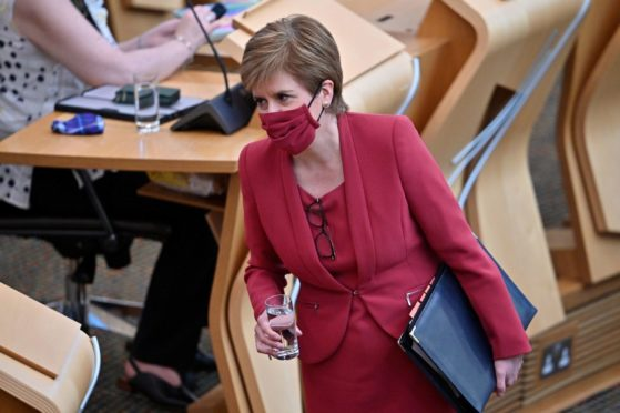 First Minister Nicola Sturgeon in the Scottish Parliament during the coronavirus crisis