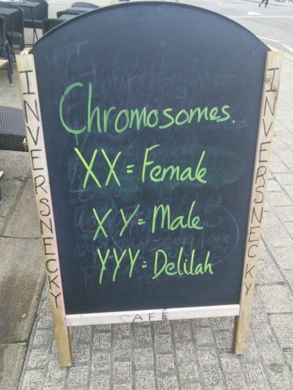 The sandwich board at the Inversnecky Cafe displays a daily gag.