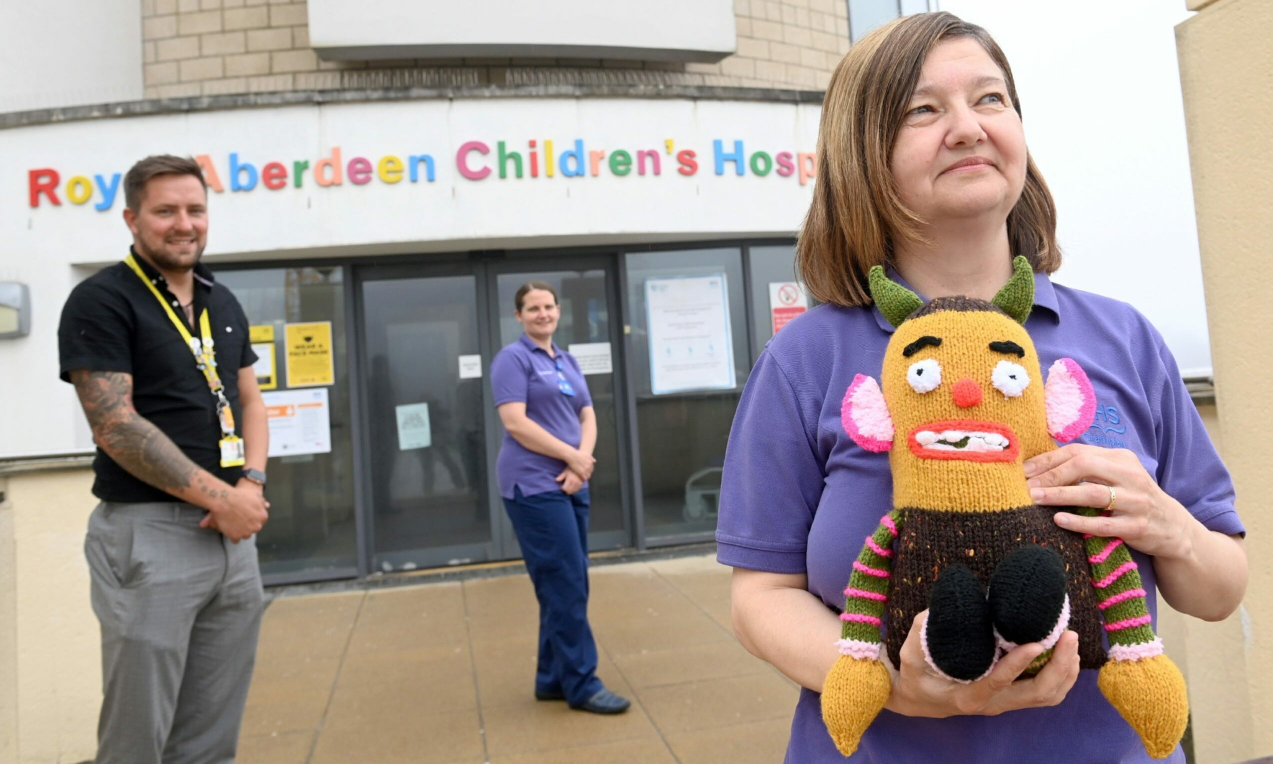 Jamie Smith, Denise Paice and Heather Beattie, with their first Worry Monster. Picture by Kami Thomson / DCT Media