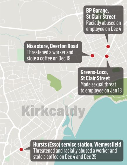 The locations of Watling's Kirkcaldy crimes