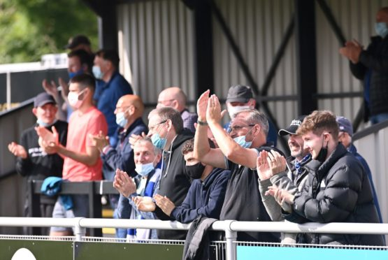 Supporters at Cove Rangers' game with Stirling Albion.