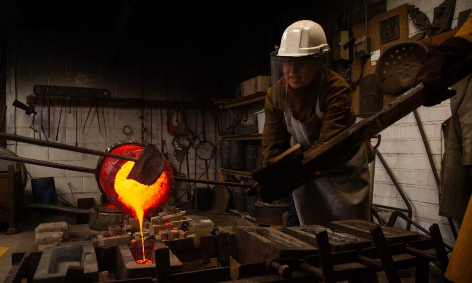 Sculptors melt and pour bronze at the Scottish Sculpture Workshop in Lumsden.
