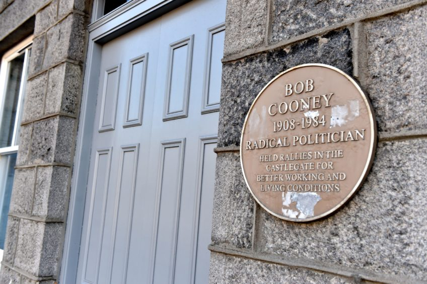 A plaque commemorating Bob Cooney was unveiled in Aberdeen in 2015.