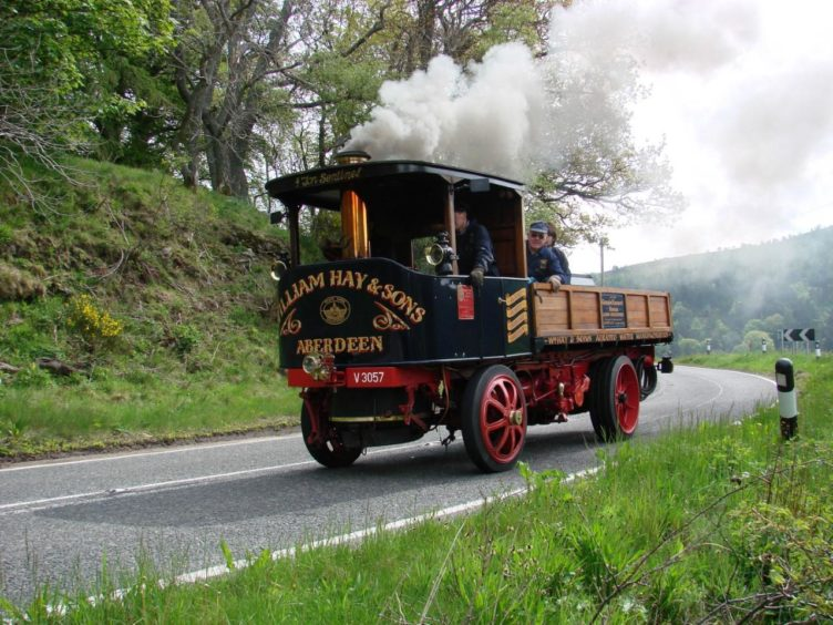 The Sentinel steam waggon on the road.