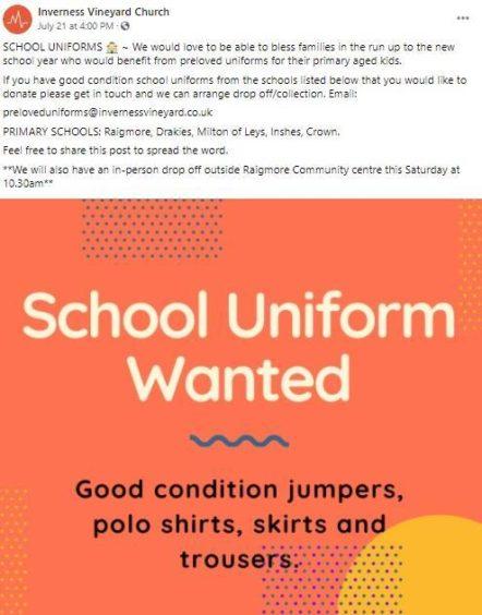 Inverness school uniform drive
