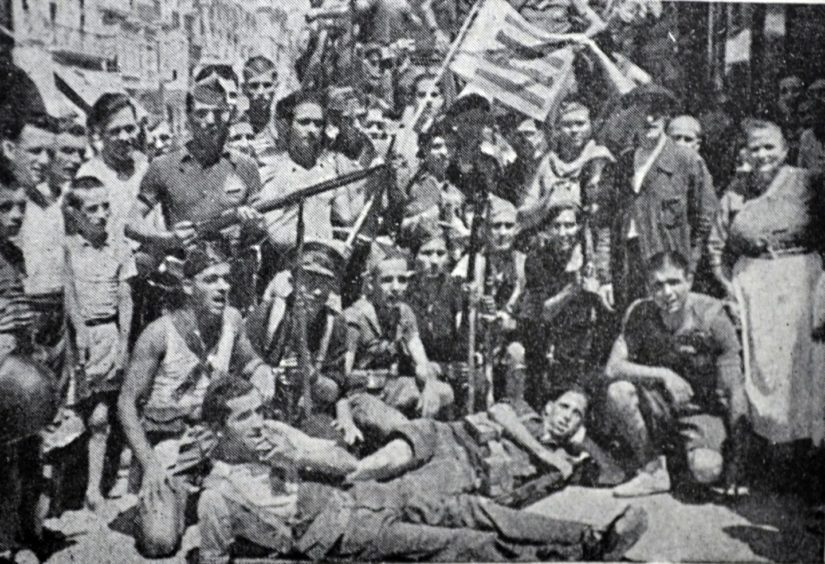 Republican militia in Madrid during the Spanish Civil War.
