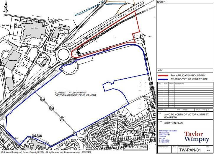 The proposed new site by Taylor Wimpey, outlined in red.