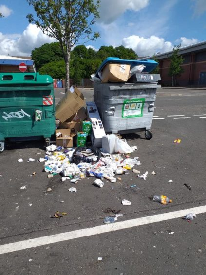 Overflowing bins at the Stack, Lochee.