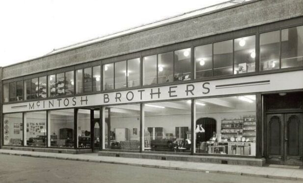 Black and white image showing the McIntosh Brothers store in Peterhead.
