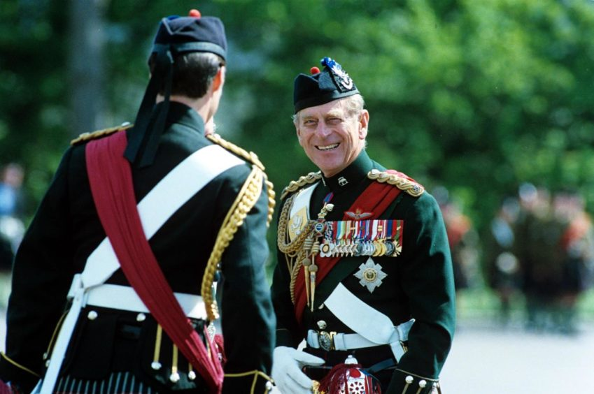 Prince Philip reviewing the Queens Own Highlanders Regiment, Edinburgh, July 1994