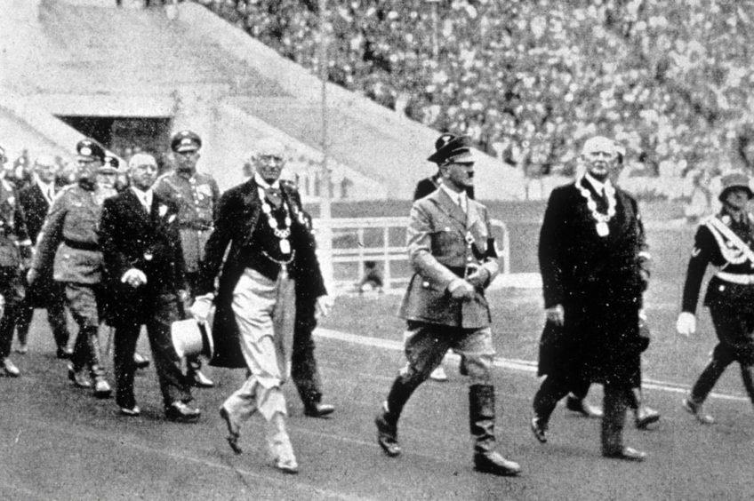 Adolf Hitler in the Olympic Stadium in Berlin in 1936.
