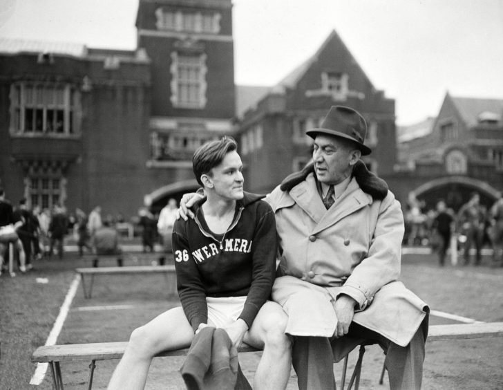 Lawson Robertson and his son, Charles A Robertson, in Philadelphia in 1937.