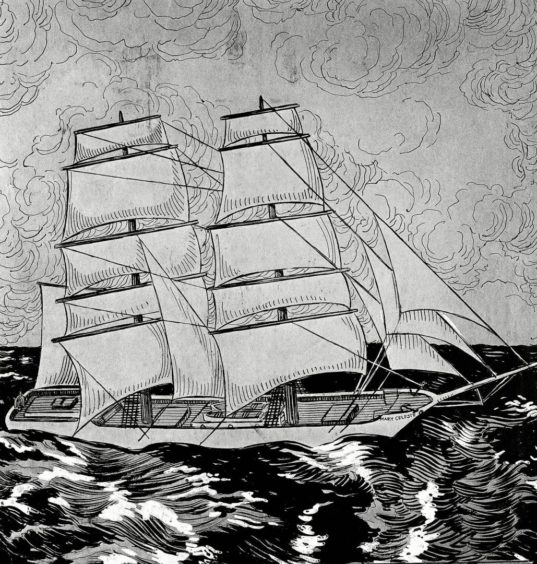 A woodcut shows the lost ship Brig Mary Celeste in 1872.