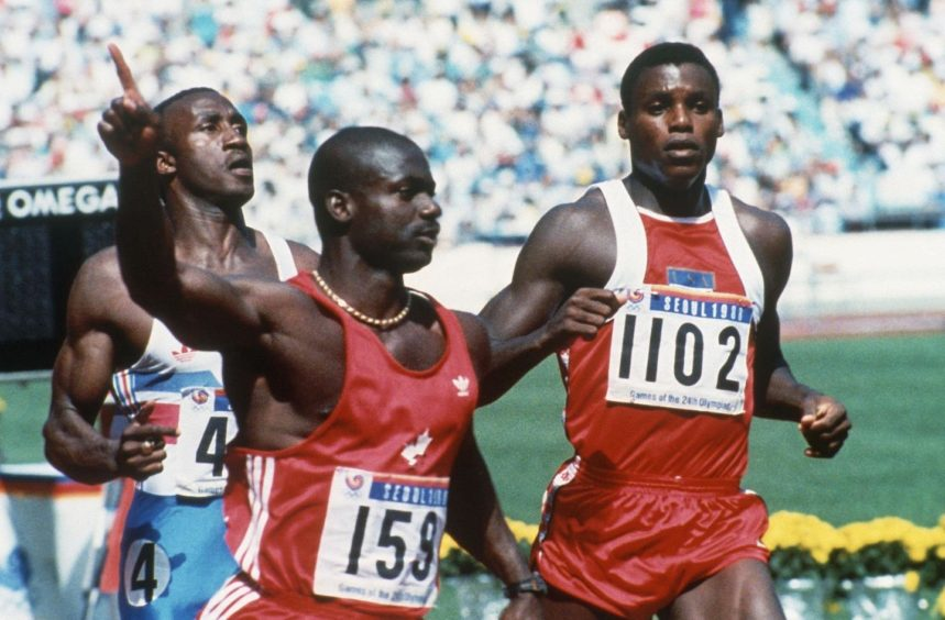 Ben Johnson won the 100m Olympic final, but was later disqualified after failing a drugs test.