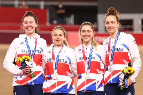 The women's team pursuit podium with Katie Archibald, Neah Evans, Laura Kenny and Josie Knight of Great Britain.