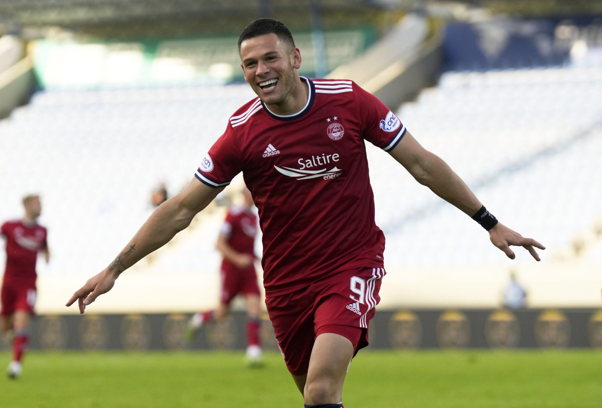 Christian Ramirez celebrates scoring for Aberdeen against Breidablik.