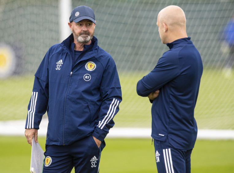Steve Clarke with Steven Naismith in Scotland training.