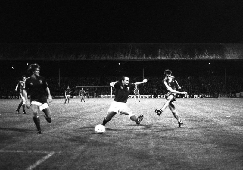 Man of the match Peter Weir scores for Aberdeen to help defeat Ipswich at Pittodrie in 1981.