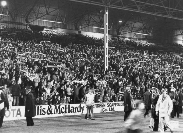 A packed Beach End sing Aberdeen's praises during their Uefa Cup match against Ipswich Town.