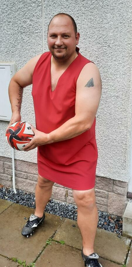 Brechin Rugby Club chairman Mike Reid has a racy red number looked out for the weekend match.