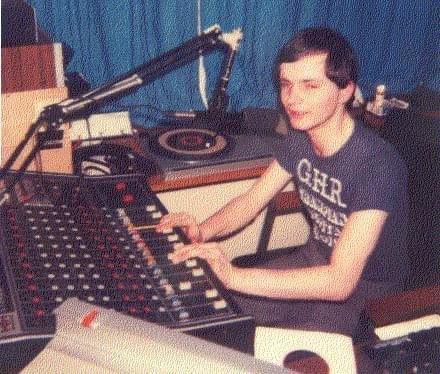 Gordon Bathgate in the studio at Grampian Hospital Radio.