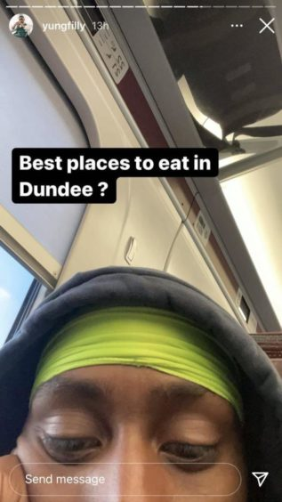The popular YouTuber and Instagrammer turned to his fans for tips on where to eat in Dundee.